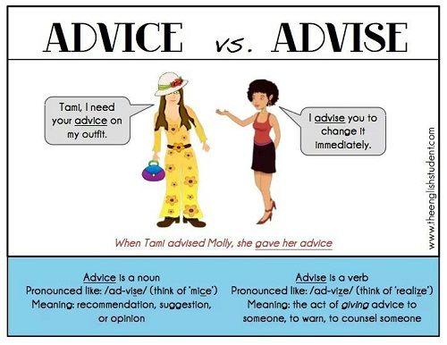 Sự khác nhau giữa Advise và Advice